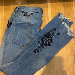 Express Super High Rise Embroidered Stretch Jeans